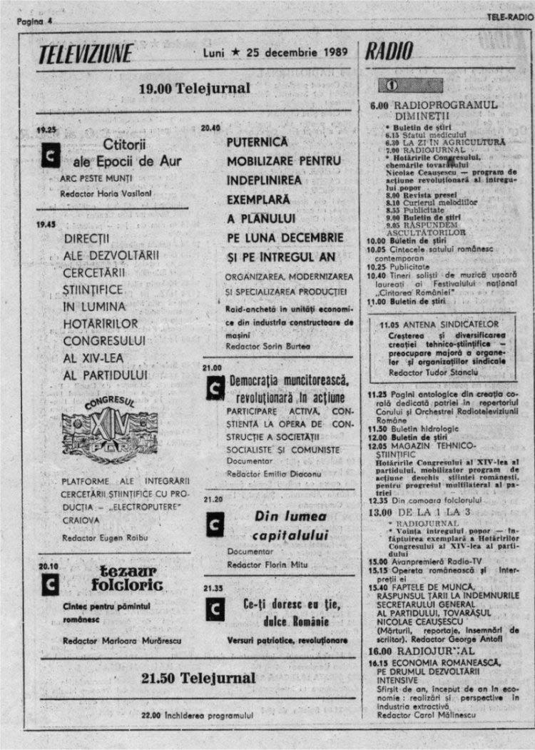program tv Craciun 89