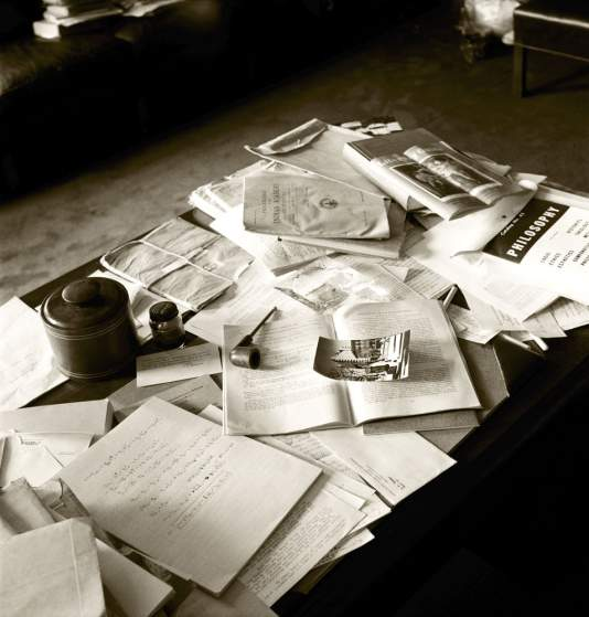 Not published in LIFE. Albert Einstein's papers, pipe, ashtray and other personal belongings in his Princeton office, April 18, 1955.