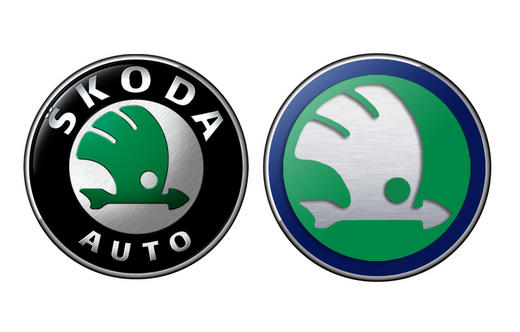 Skoda old and new logos